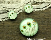 Peacock Feather Glass Domes, 8mm 10mm 12mm 14mm 16mm 18mm 20mm 25mm 30mm  Photo Glass Cabochons  - RCH002A