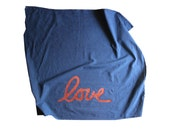 HALF PRICE - Metallic Copper and Navy Blue Flour Sack Dish Towel