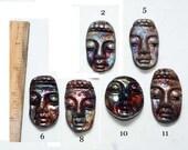 Raku Buddha Face Cabochon- Price is for one