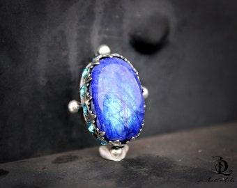 Blue Moonstone // Enchantress No. 3  // Blue Rainbow Moonstone and Swarovski Rhinestones Sterling Silver gemstone, welded by Bellalili