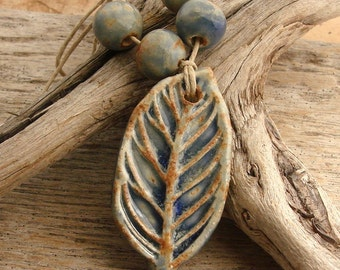LEAF - Blue with hints  of Chocolate Brown Leaf with Coordinating Beads - Handmade Ceramic Pendant