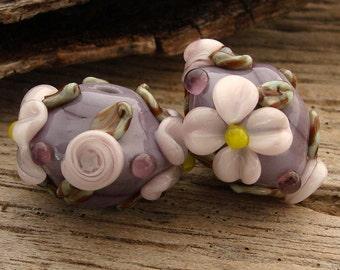 PURPLE BLOOMS - Earring Pair - Handmade Lampwork Bicone Floral Beads - 2 Beads
