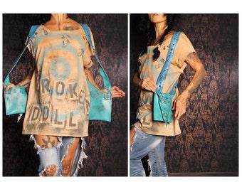 Shoulder Holster Bag, Cell Phone Purse Pouch, wasteland purse, apocalyptic studded bag, fake blue leather, Festivals fashion, playa handbag