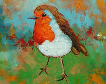 Bird painting 252 Robin 12x12 inch portrait original oil painting by Roz