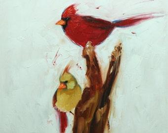 Birds painting 143 18x18 inch original ravens portrait oil painting by Roz