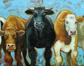 Cows painting animals 503  18x36 inch original portrait oil painting by Roz