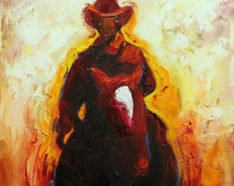 Cowboy painting 45 12x12 inch original portrait figure oil painting by Roz