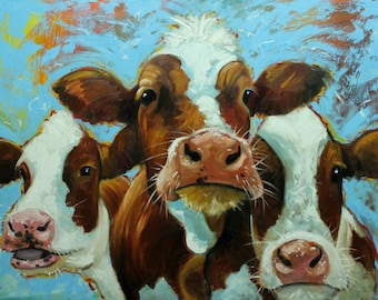 Cows painting animals 511  30x40 inch original portrait oil painting by Roz