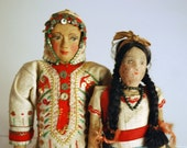Antique Cloth Dolls Textile Art Folk Art Mexican Woman Colorful Ethnic Boho Home Decor Collectibles Red and Green Sequins