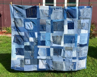 Recycled Blue Jean Quilt, XL Throw OOAK