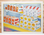Vintage School Poster National Dairy Council Print Bread Grocery Store Food Production Illustration 1987