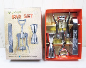 Vintage Bar Set S.S. Kresge 3 Pc Stainless Corkscrew Double Jigger Tongs Japan In Box