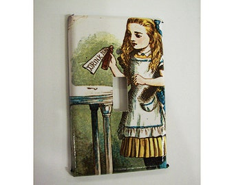 Alice in Wonderland single switch plate cover vintage white rabbit fairy tale kitsch