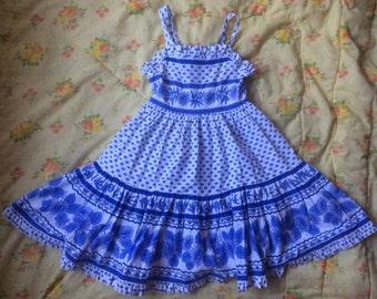 Blue Floral Dress Girls 5/6