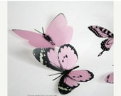 NEW YEAR SALE 6 x Special Baby Pink 3D Butterflies great for Weddings, Crafts