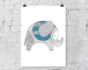Doodle Elephant – Nursery Art Print