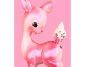 deer print pink fawn ice cream 5 x 7 OH DEER