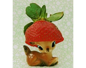 deer strawberry print 5 x 7 Berry Fawnd of You