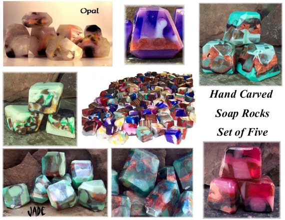 Soap Rocks, Set of 5 Assorted Gem Soaps, Soap Rock Treasury, Soap Gift Set, 20 ounces