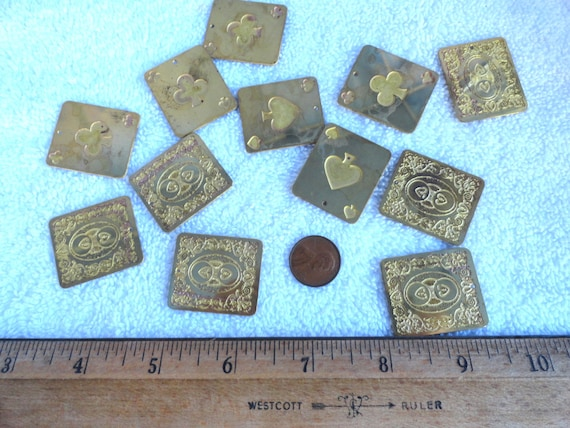4 Vintage Brass Playing Card Pendants, Clubs & Spades, 29mm x 33mm
