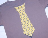Boys Gray and Yellow Quatrefoil Appliqued Tie Shirt - Long or Short Sleeve