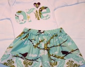Girls First Birthday Outfit - 12- 18 month long sleeve birthday number ONE shirt and aqua and purple aviary skirt