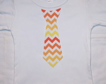 Boys Orange and Yellow Chevron Appliqued Tie Shirt - sizes 0-3 months to size 6 - White Long or Short Sleeve