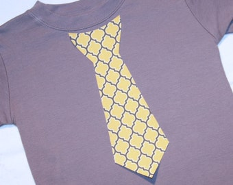 Boys Gray and Yellow Quatrefoil Easter Tie Shirt - Long or Short Sleeve