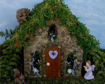 Fairy House, Fairy Garden,FREE SHIPPING, Gift for Gardeners,Miniature Garden, Garden Decor, Garden Cottage, Purple Heart