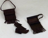 "Purchase individually or as sets Suede Leather Purses and moccasins for 11.5"" fashion dolls - dark brown"