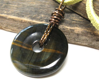 Stone pendant blue tiger eye, blue jewelry, large stone, donut pendant, blue green, brass, suede leather, rustic unique