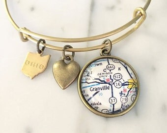 Denison University Map Charm Bangle Bracelet - Personalized Map Jewelry - Granville - Ohio - Graduation Gift - Alumni - Student