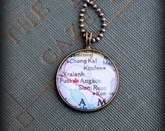 Angkor Wat Map Necklace - Custom Handmade Pendant - Charm Jewelry - Cambodia - Asia - Wanderlust