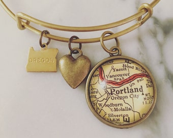 Portland Map Charm Bangle Bracelet - Personalized Map Jewelry - Stacked Bangle - Oregon - PDX - Pacific Northwest - Travel - Wanderlust
