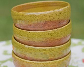 Moss Green Pottery Bowl Set