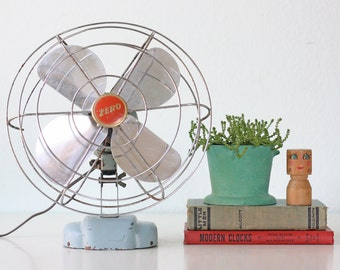 Vintage Zero Fan, Retro Blue and Red Fan