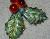 Lampwork Boro Glass Pendant - Focal Bead - HOLLY