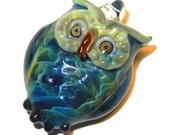 Lampwork Boro Glass Pendant - Focal Bead - OWL blue green
