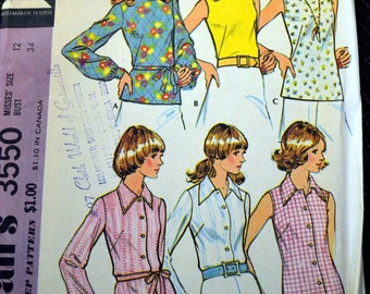 Vintage 70's Sewing Pattern McCall's Misses' Blouses  Bust 34 Complete Uncut 70's Fashion