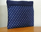 Patriotic Navy Stars Makeup Case, Stars Makeup Bag , Navy Blue and White , Makeup Organizer , Toiletry bag , Clutch , Travel Storage , Pouch
