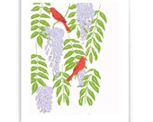 "Wisteria and Tanagers 8"" x 10"" Art Reproduction"