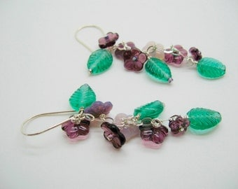 Violet Flowering Vine Earrings