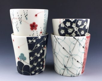 Black and White Ceramic Cups, Tumblers Set of 4, Gift For Her Cups,  Unique Cups, Wedding Gift, Housewarming Gift, Porcelain, Hand Painted