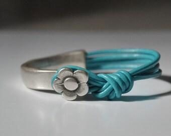 Leather Bracelet, Flower Bracelet, Women's Leather Bracelet, Statement Bracelet, Blue Leather, Leather Jewelry