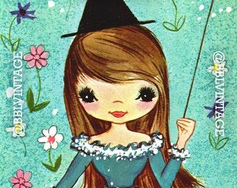 Vintage Digital Greeting Card: Kitsch Witch Halloween Get Well Card - Digital Download, Printable, Scrapbooking, Image, Clip Art