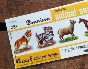 Vintage Dennison Domestic Animals Gummed Seals (Stickers, Decals) - Book of 48 Seals