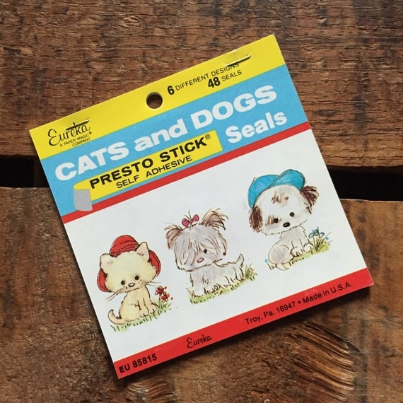 Vintage Eureka Stickers: Cats and Dogs - Self Adhesive Presto Stick Stickers, Decals, Labels, Seals, Paper Ephemera, Cute Animals