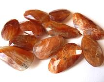 Large Faceted Sunstone Nuggets semiprecious gemstones - beads - 11 large