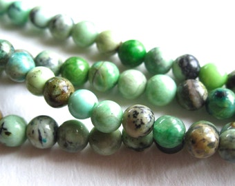4mm Smooth Polished Chrysoprase semiprecious gemstone rounds - 20 beads