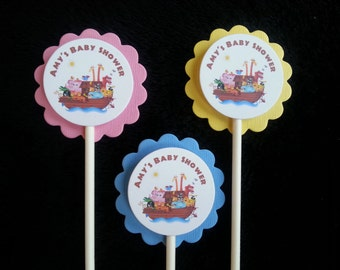 Personalized Noah's Ark Cupcake Toppers